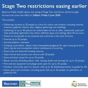 Stage two restrictions easing earlier
